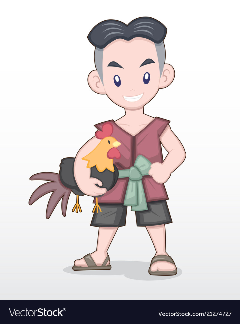 Cute style cartoon thai man holding fighting cock