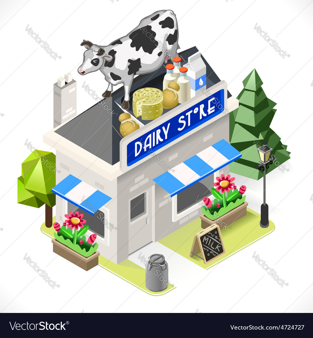 Dairy Products Shop City Building 3D Isometric