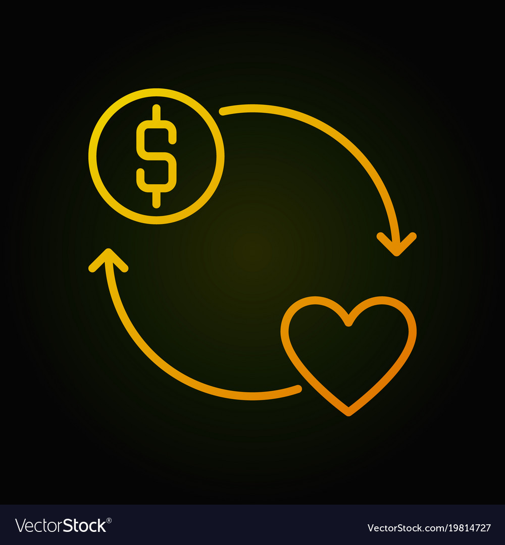 Donate money yellow round outline icon or vector image