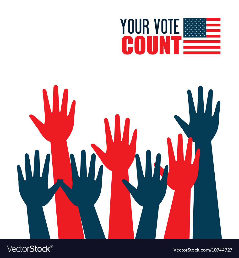 Hands raised up election presidential graphic vector image