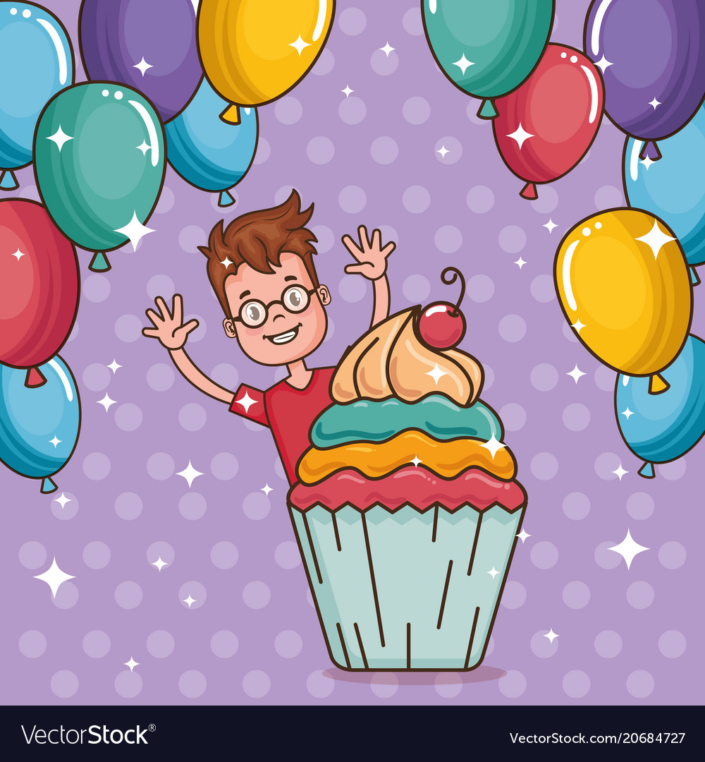 Happy Birthday Card With Little Boy Royalty Free Vector
