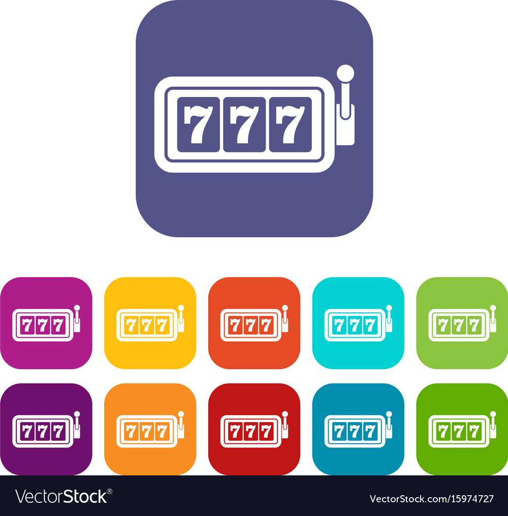 Lucky seven on slot machine icons set vector image