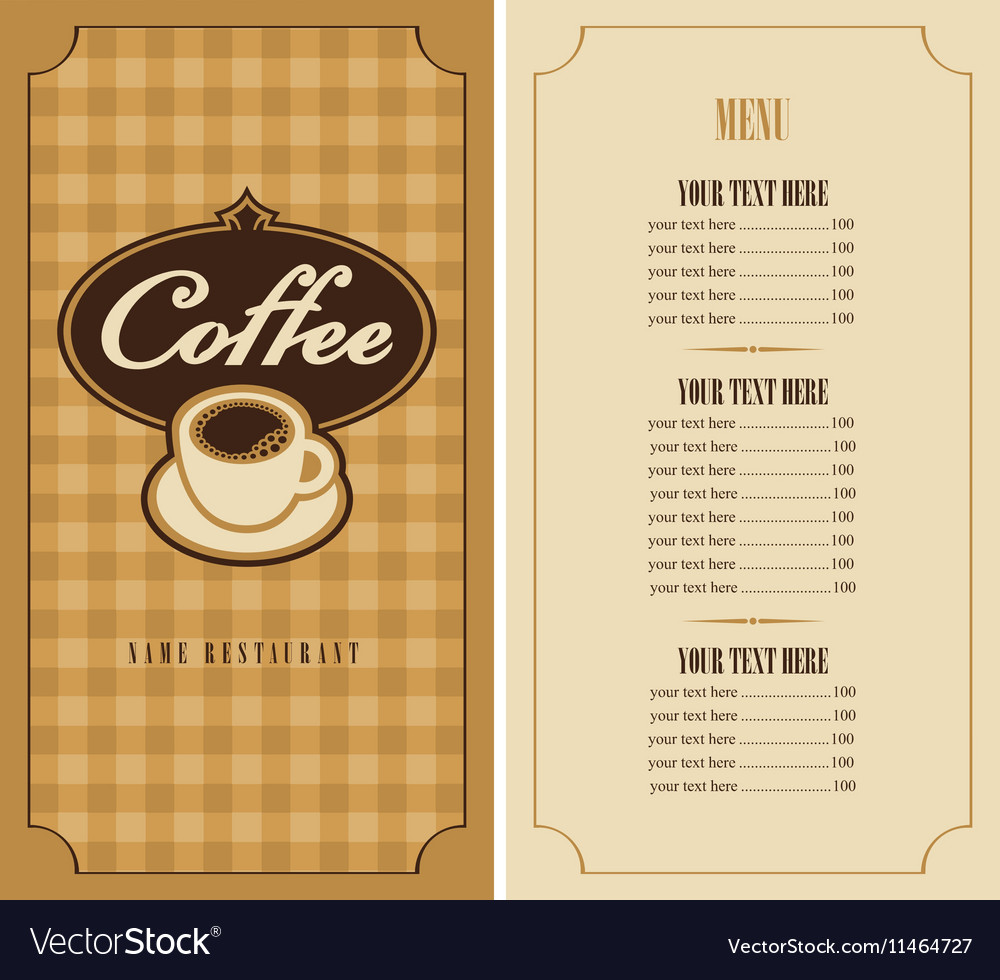Menu with cup of coffee