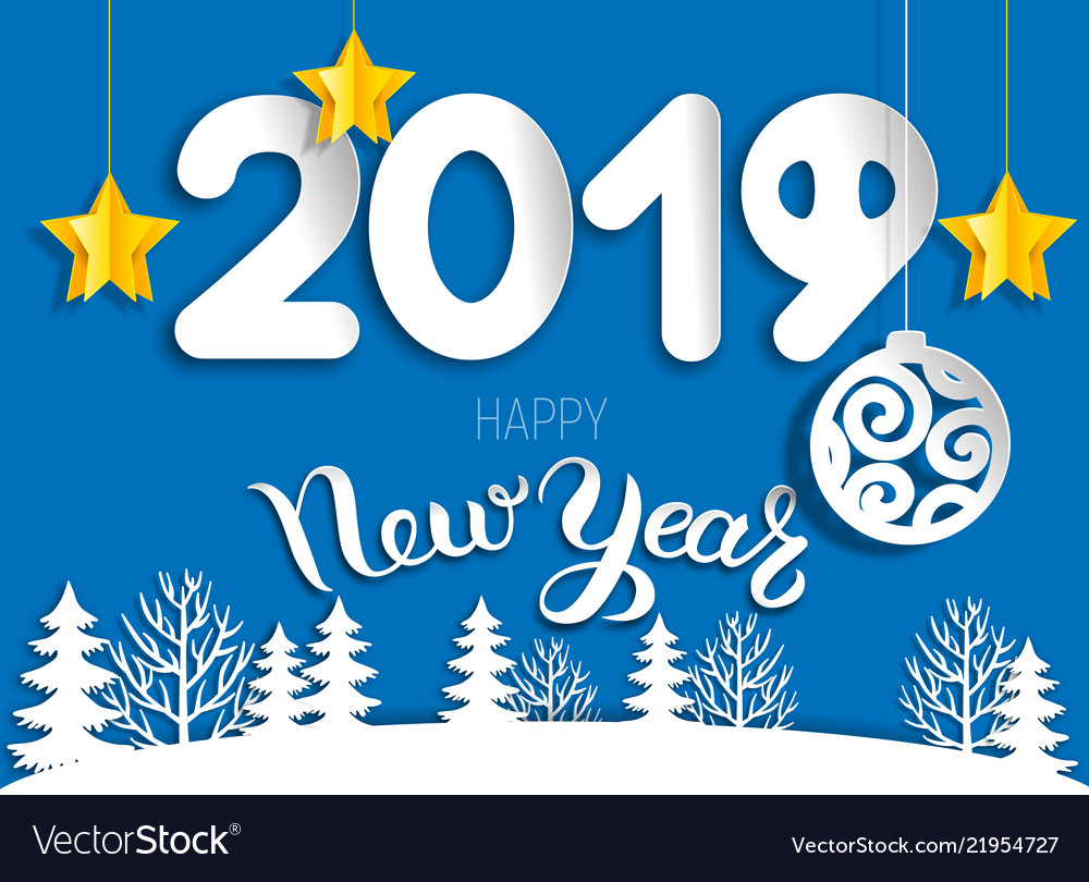 New year greeting card 2019 of cut paper layers