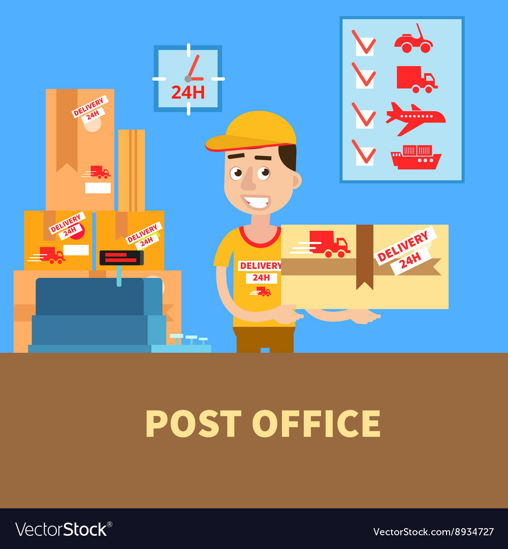Post Office Postman with the Parcel Postal Service