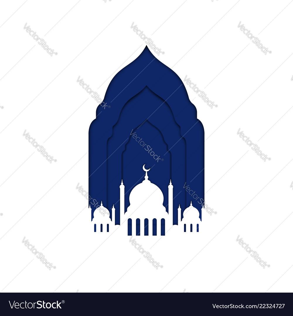 Ramadan kareem mosque window with crescent moon