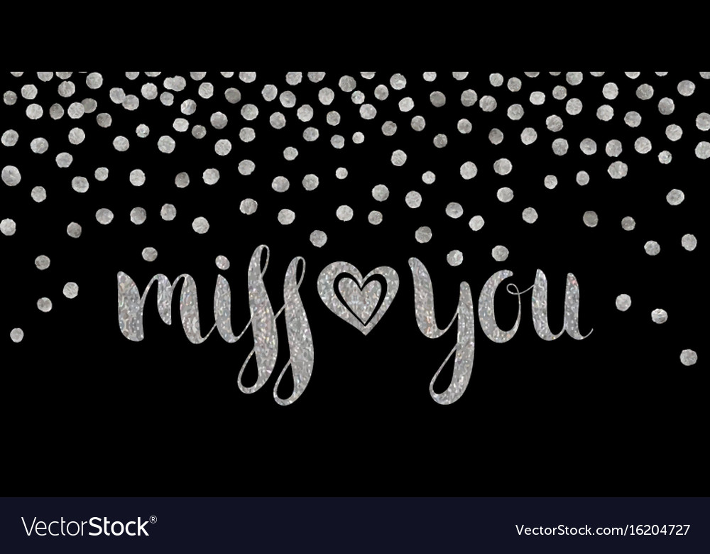 Silver textured inscription miss you