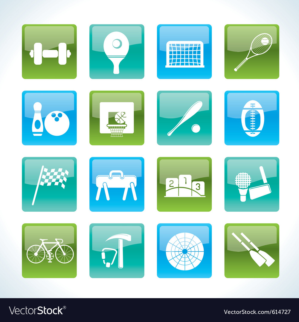Sports gear and tools icons