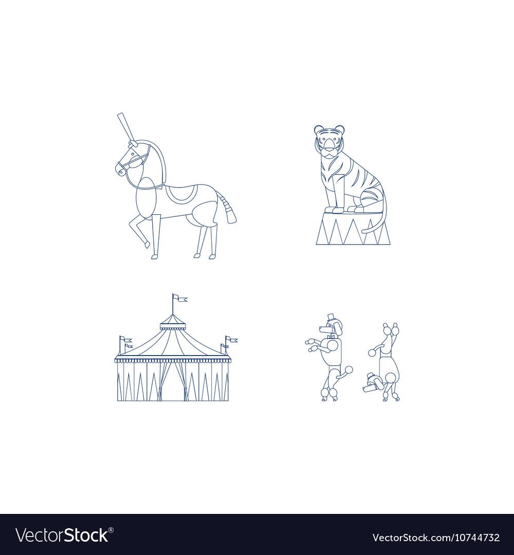 Circus line art icons