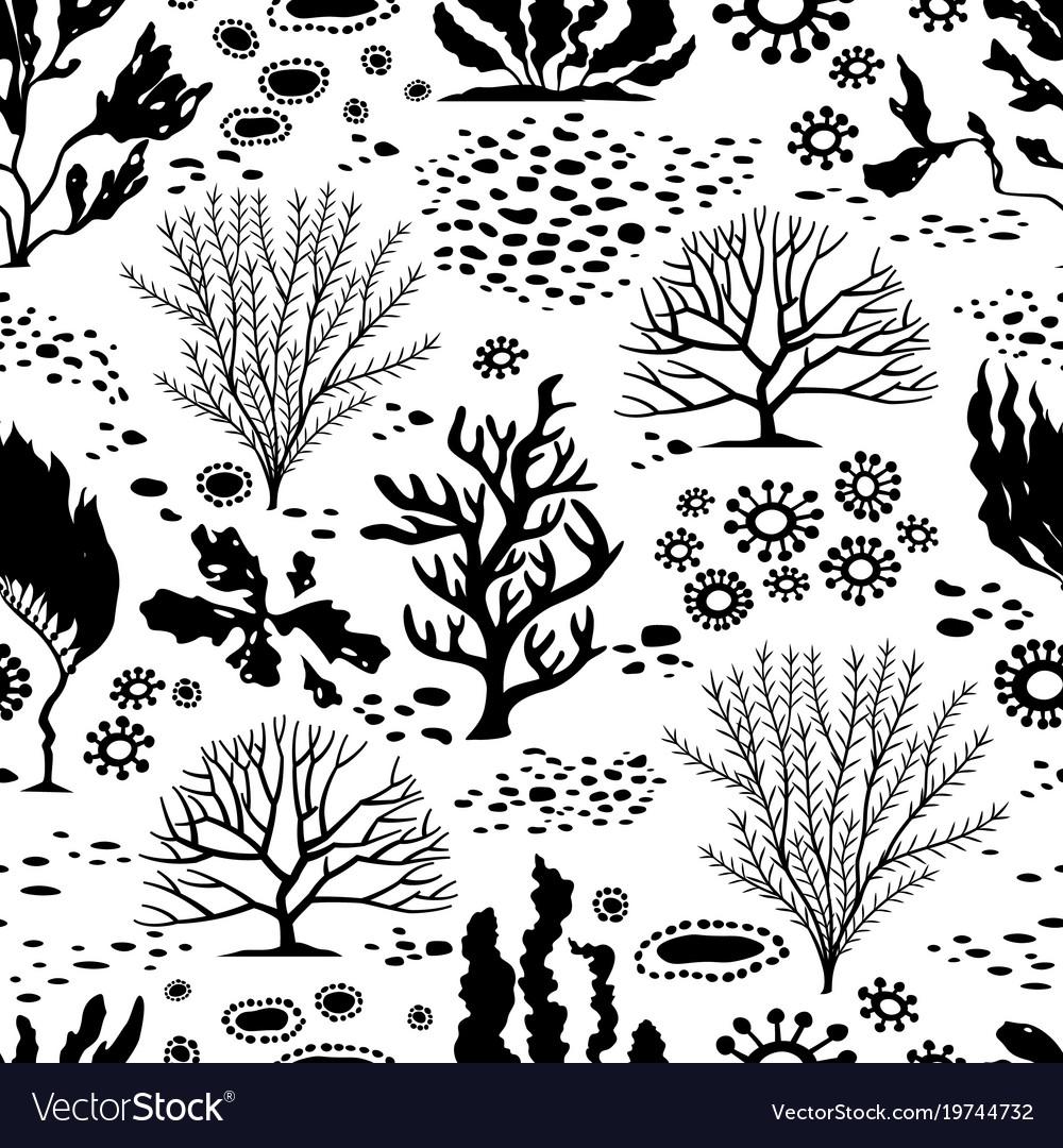 Doodle seamless cartoon underwater background