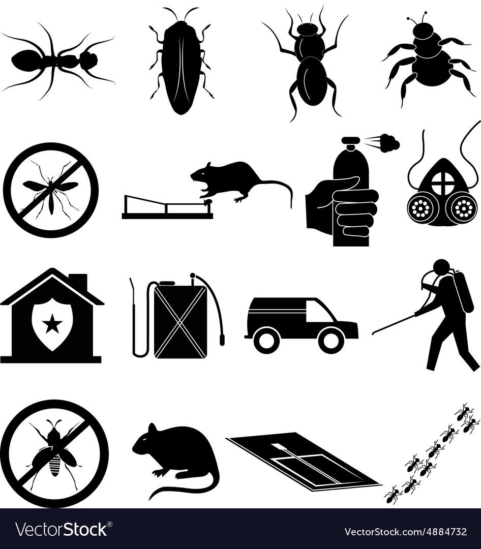 Exterminator icons set vector image