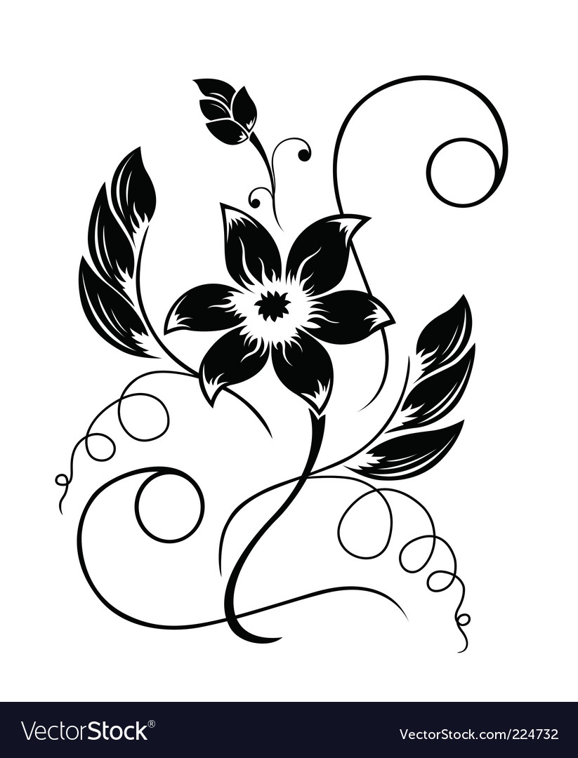 Flower Black A White Pattern Royalty Free Vector Image