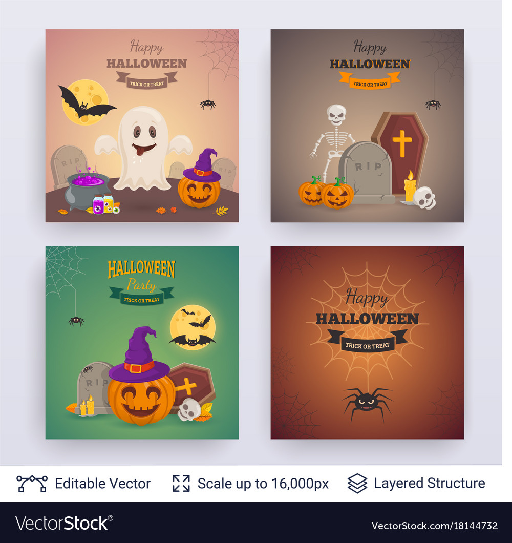 Halloween party posters set