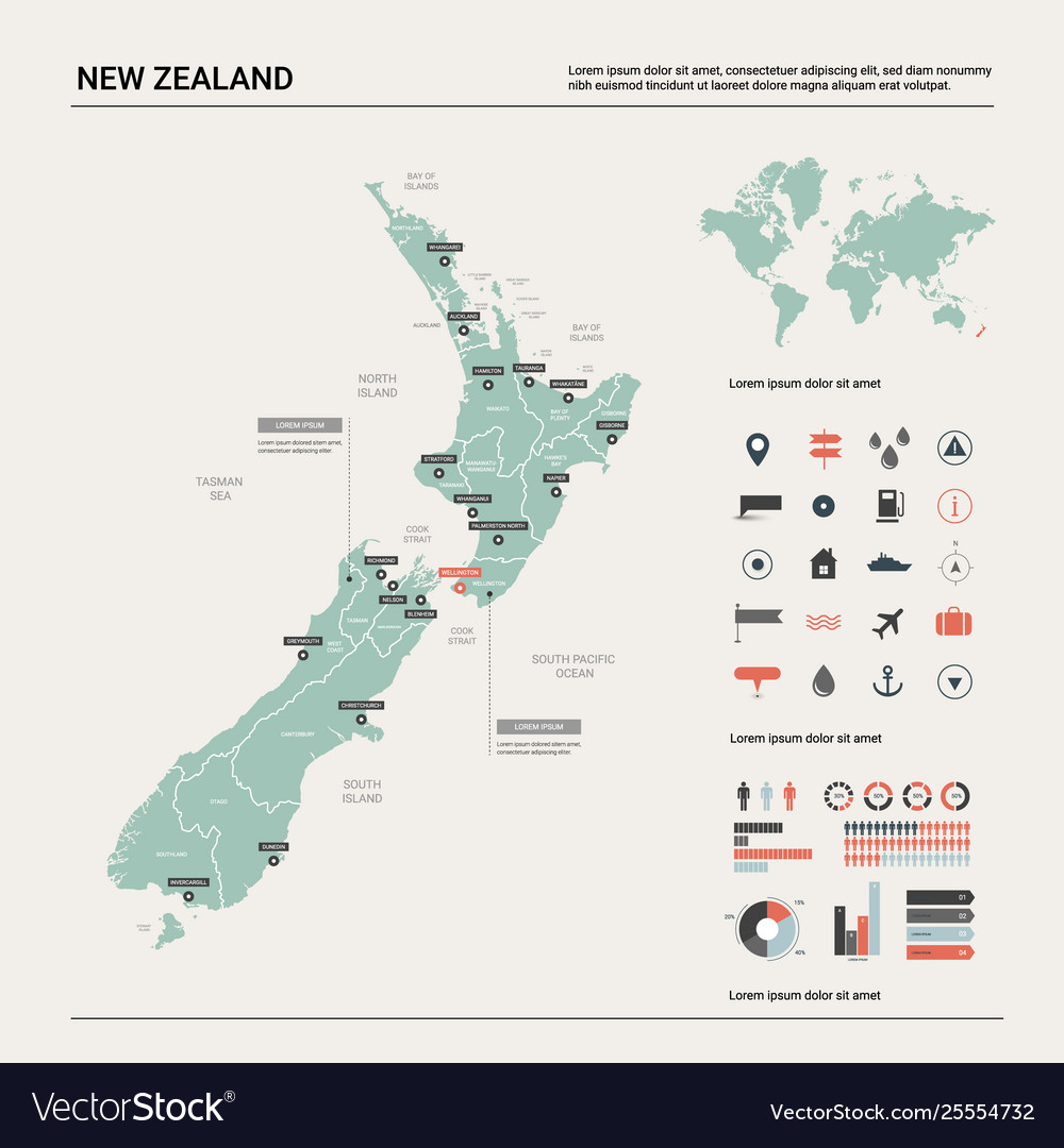 New Zealand Map In World Map.Map New Zealand Country Map With Division