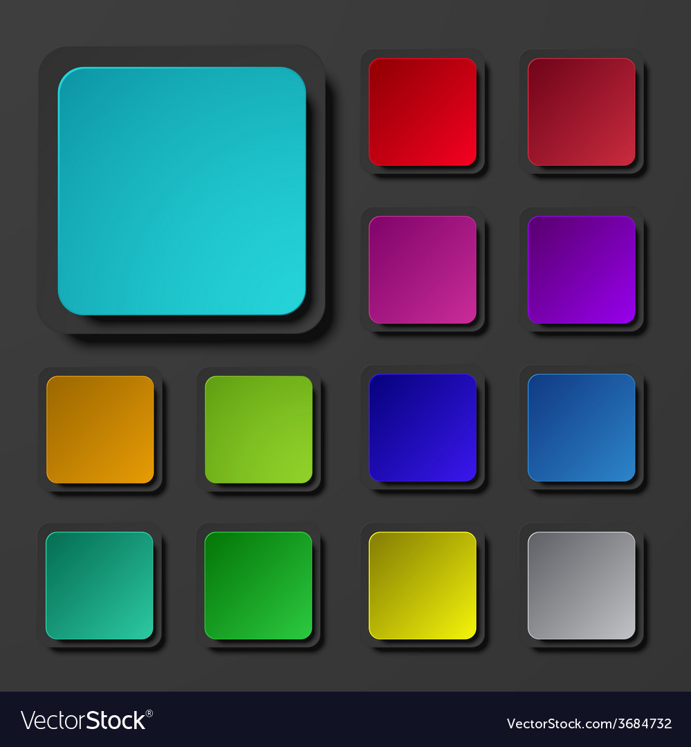 Modern colorful square icons set