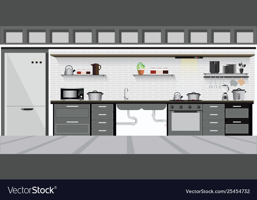 Modern Interior Kitchen With Kitchen Shelves Vector Image