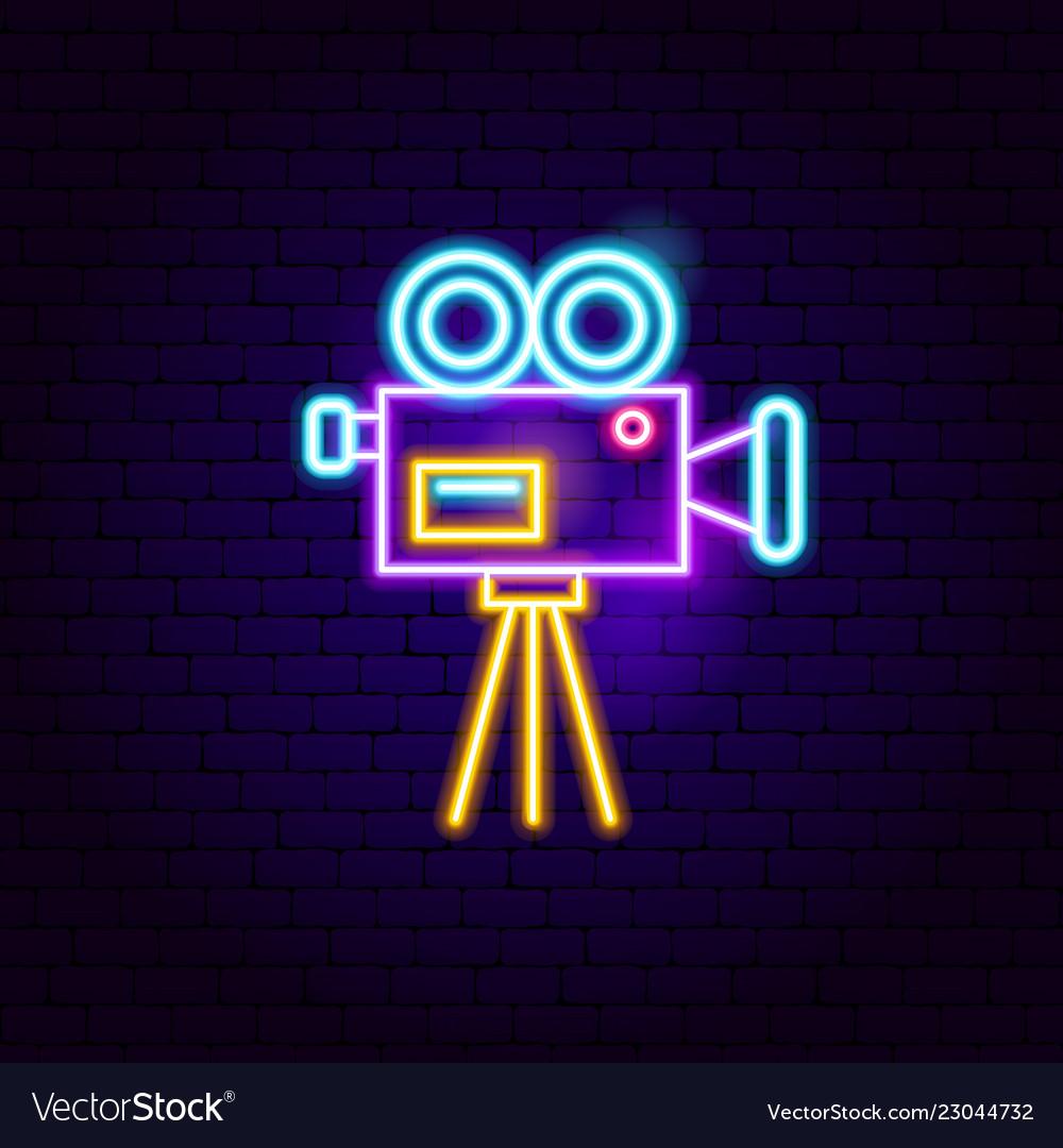 Movie camera neon sign