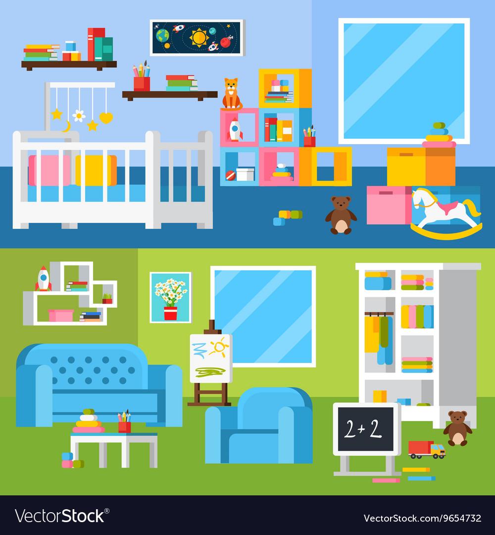 Nursery Room Cartoon Horizontal Banners
