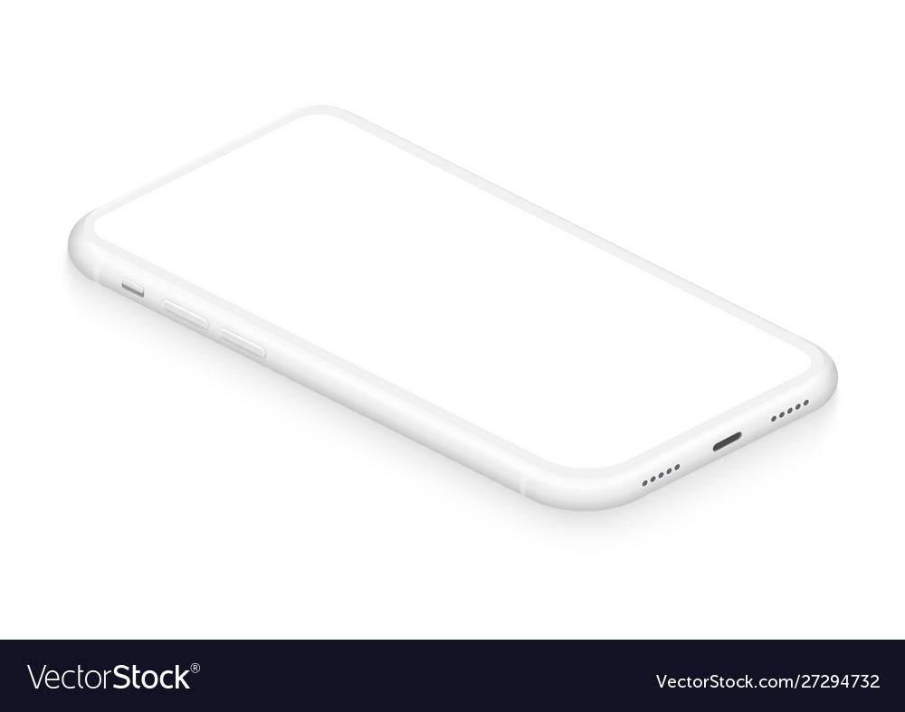 Realistic isometric white frameless smartphone
