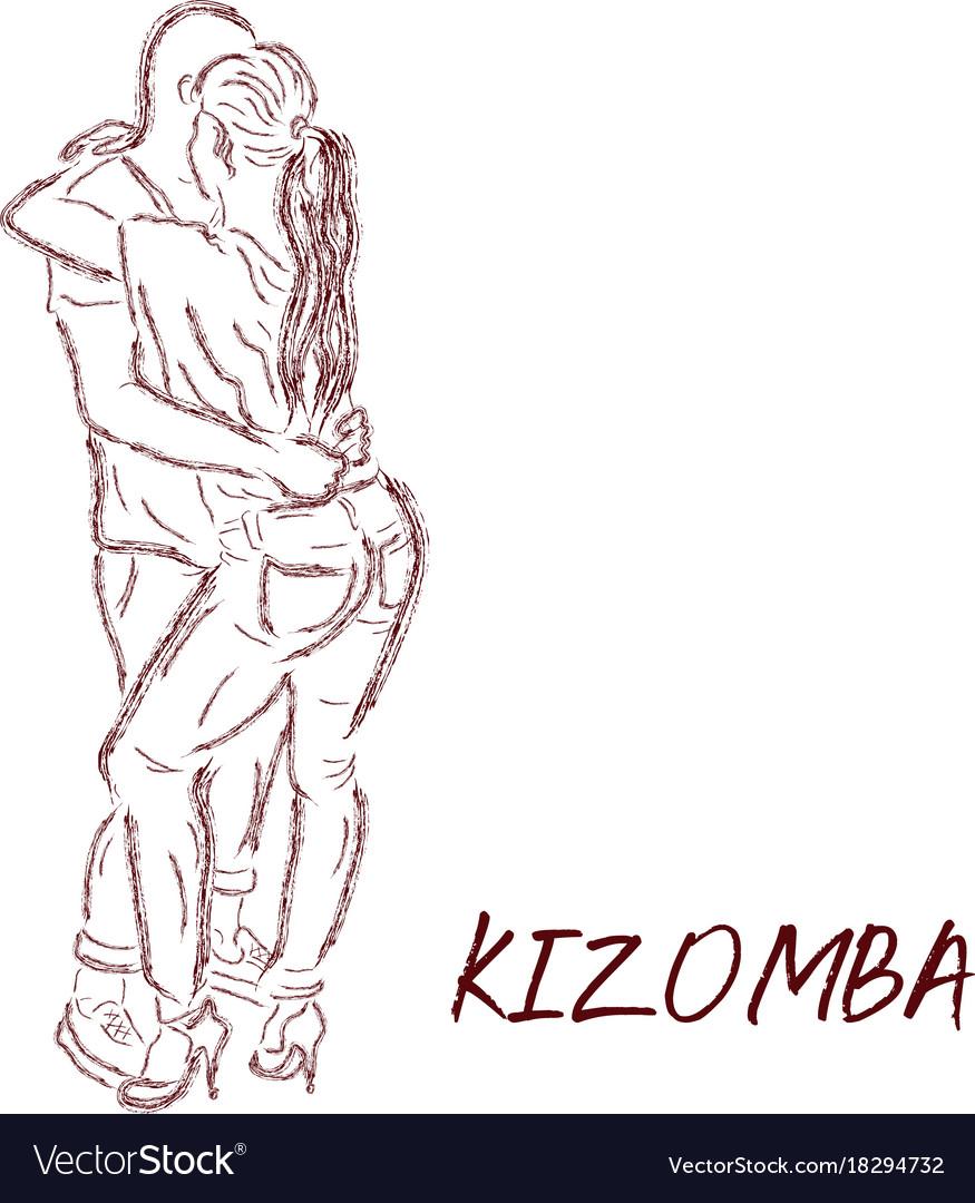 Young Couple Dancing Kizomba Draw Royalty Free Vector Image