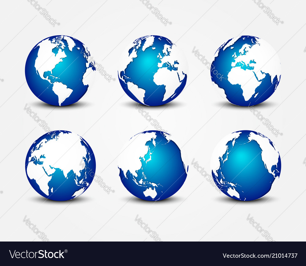 All side of blue planet around the world