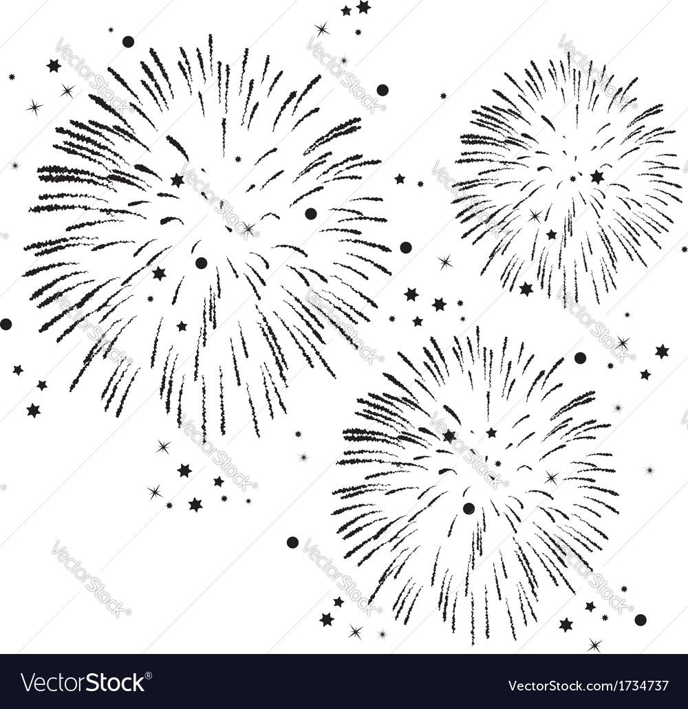 black and white fireworks vector image on vectorstock rh vectorstock com Fireworks No Background Shooting Fireworks