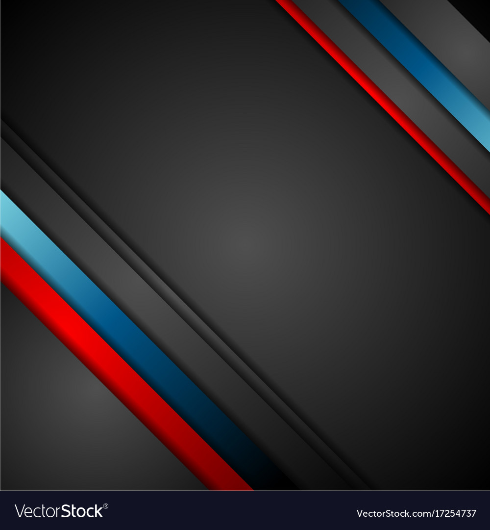 black background with red and blue stripes vector image