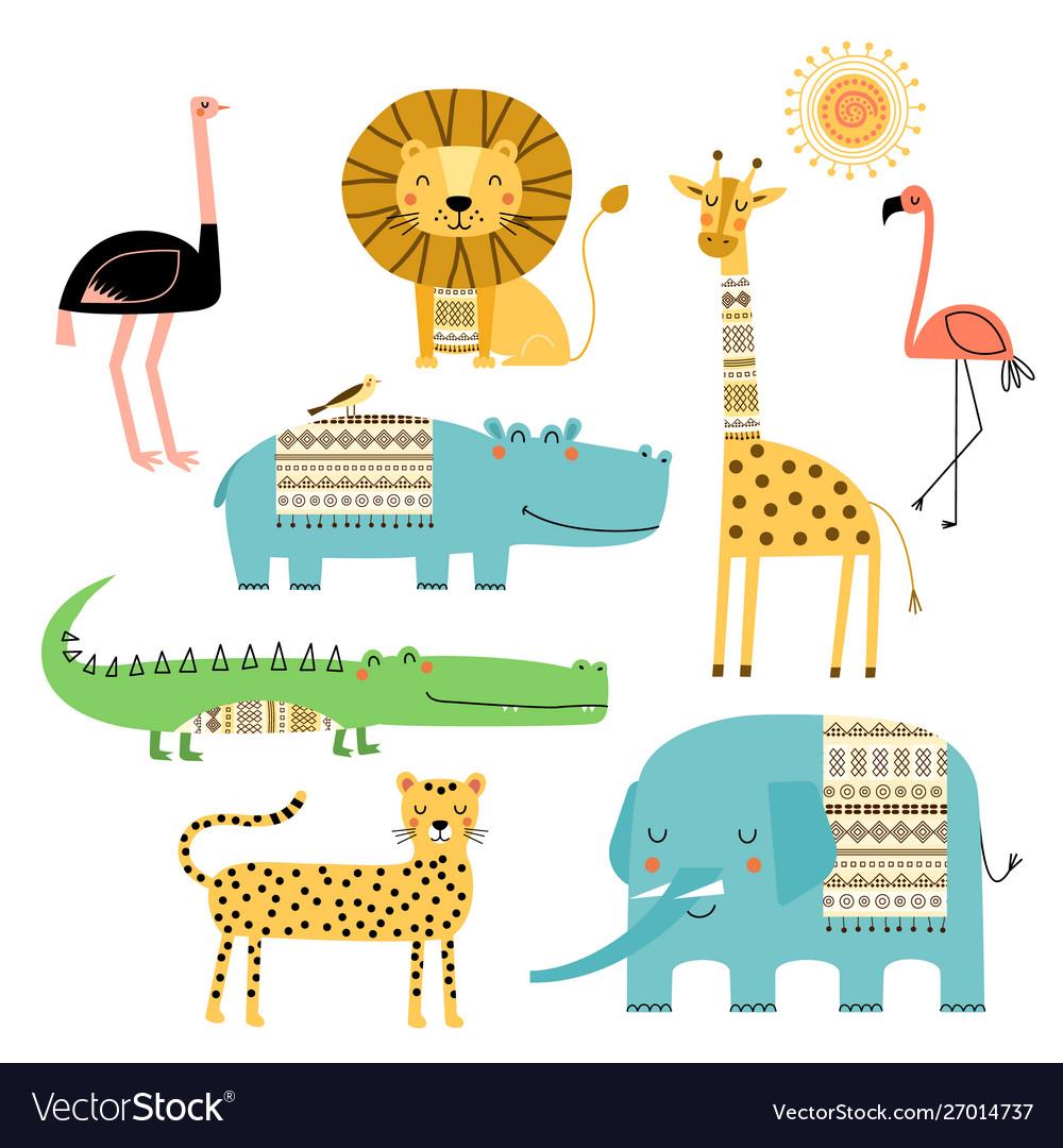 Cute african animals set children drawings