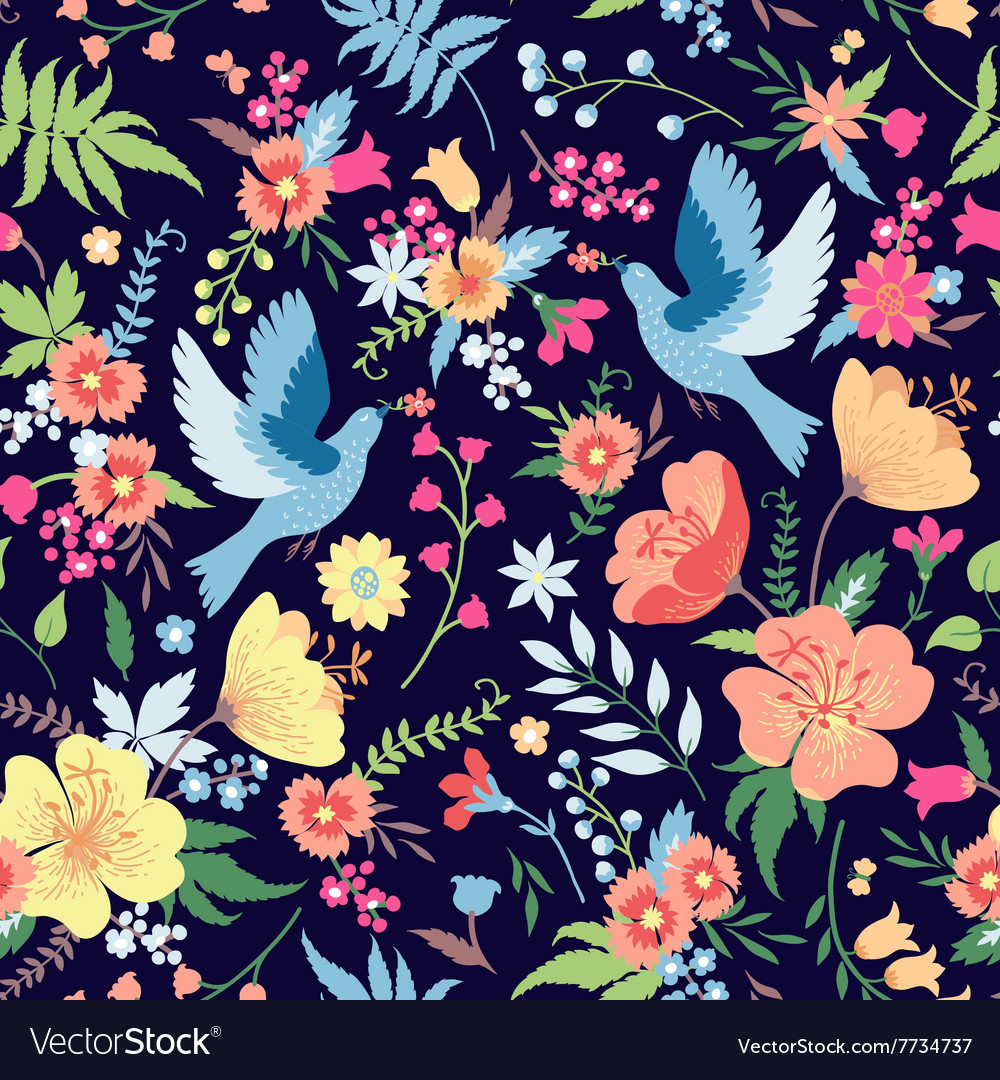 Cute seamless pattern with birds and flowers