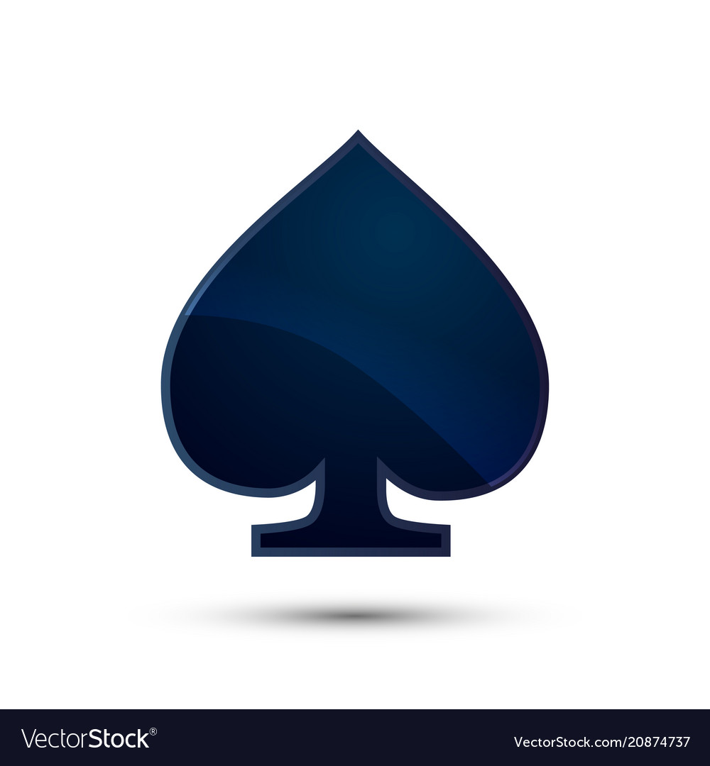 blue spade card  Glossy deep blue spades card suit icon on white