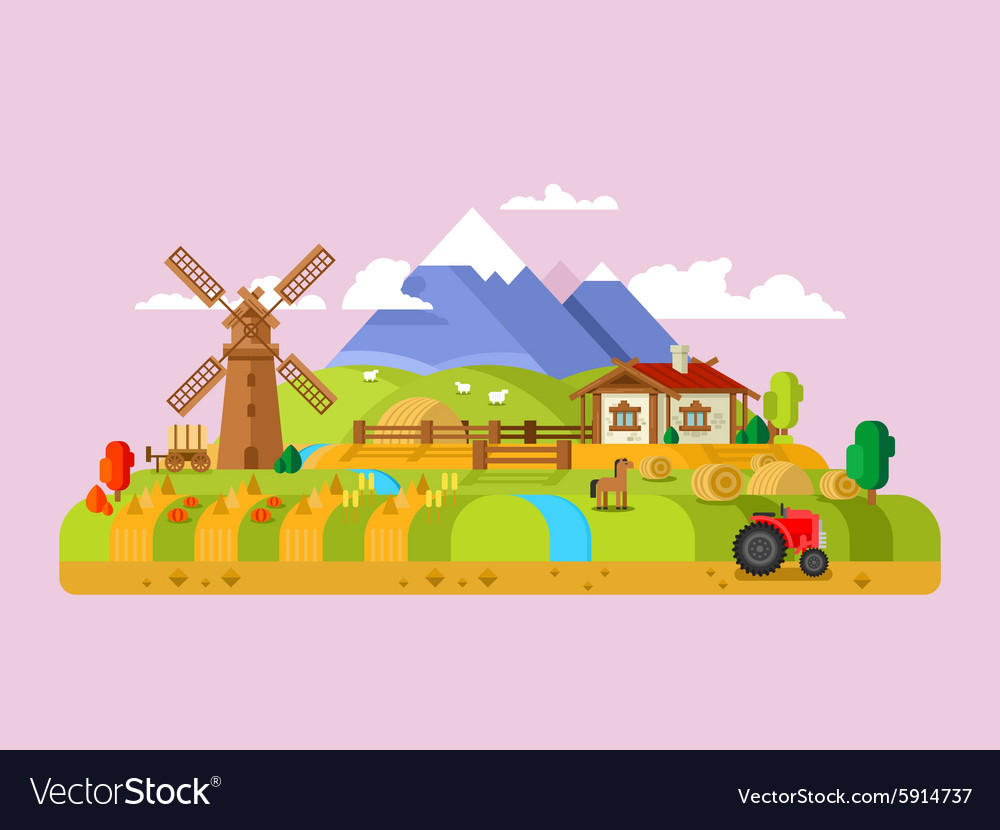 House in village farm vector image
