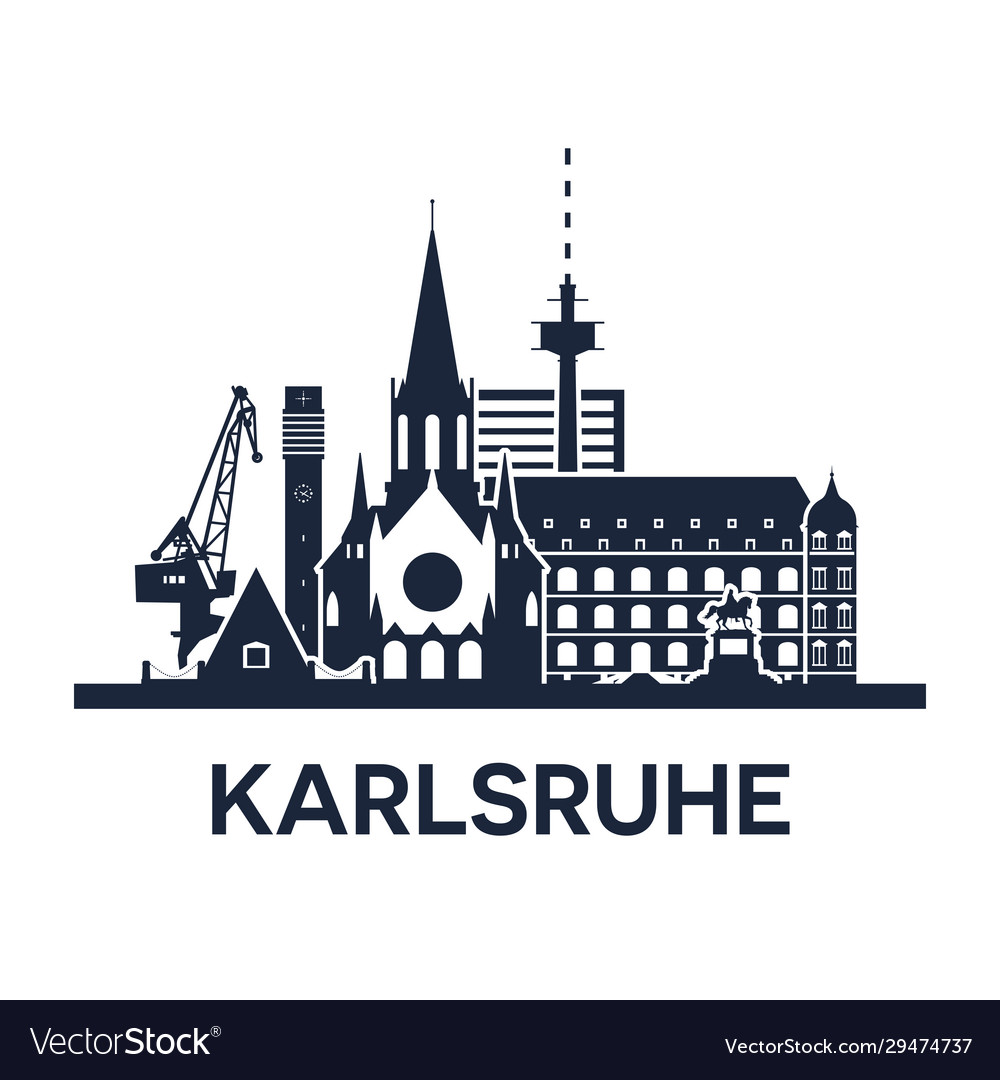 Karlsruhe gemany city skyline dark solid color