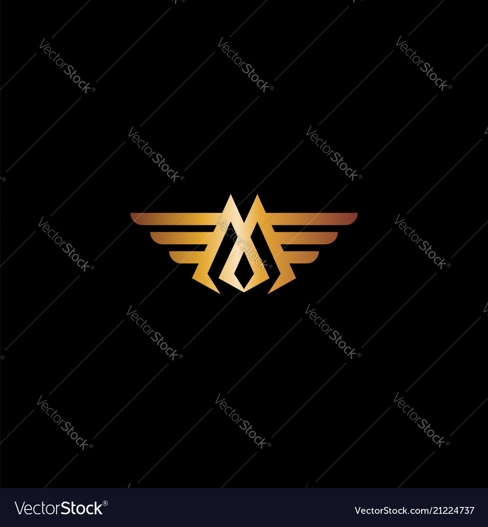 Letter m wings luxury logo design concept template