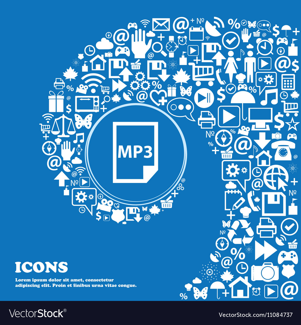 Mp3 icon Nice set of beautiful icons twisted vector image
