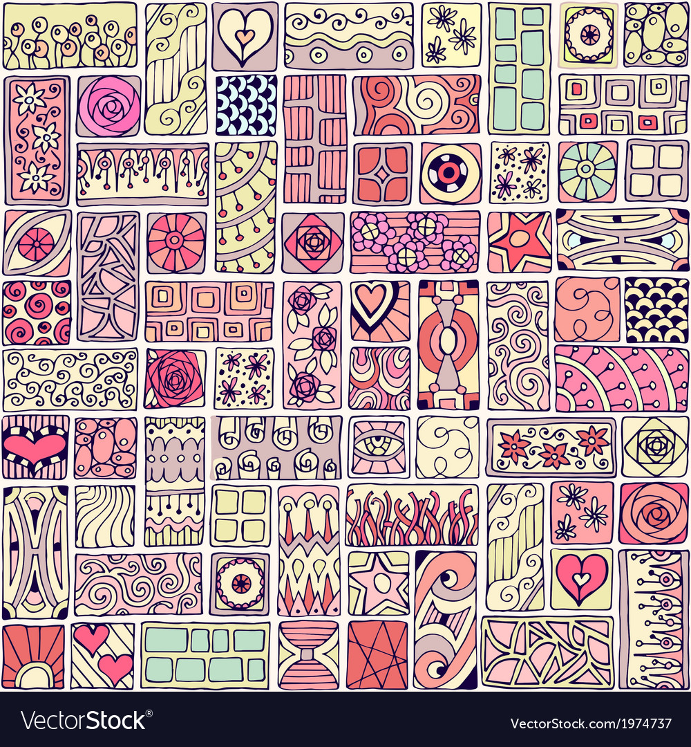 Seamless pattern with doodle frames