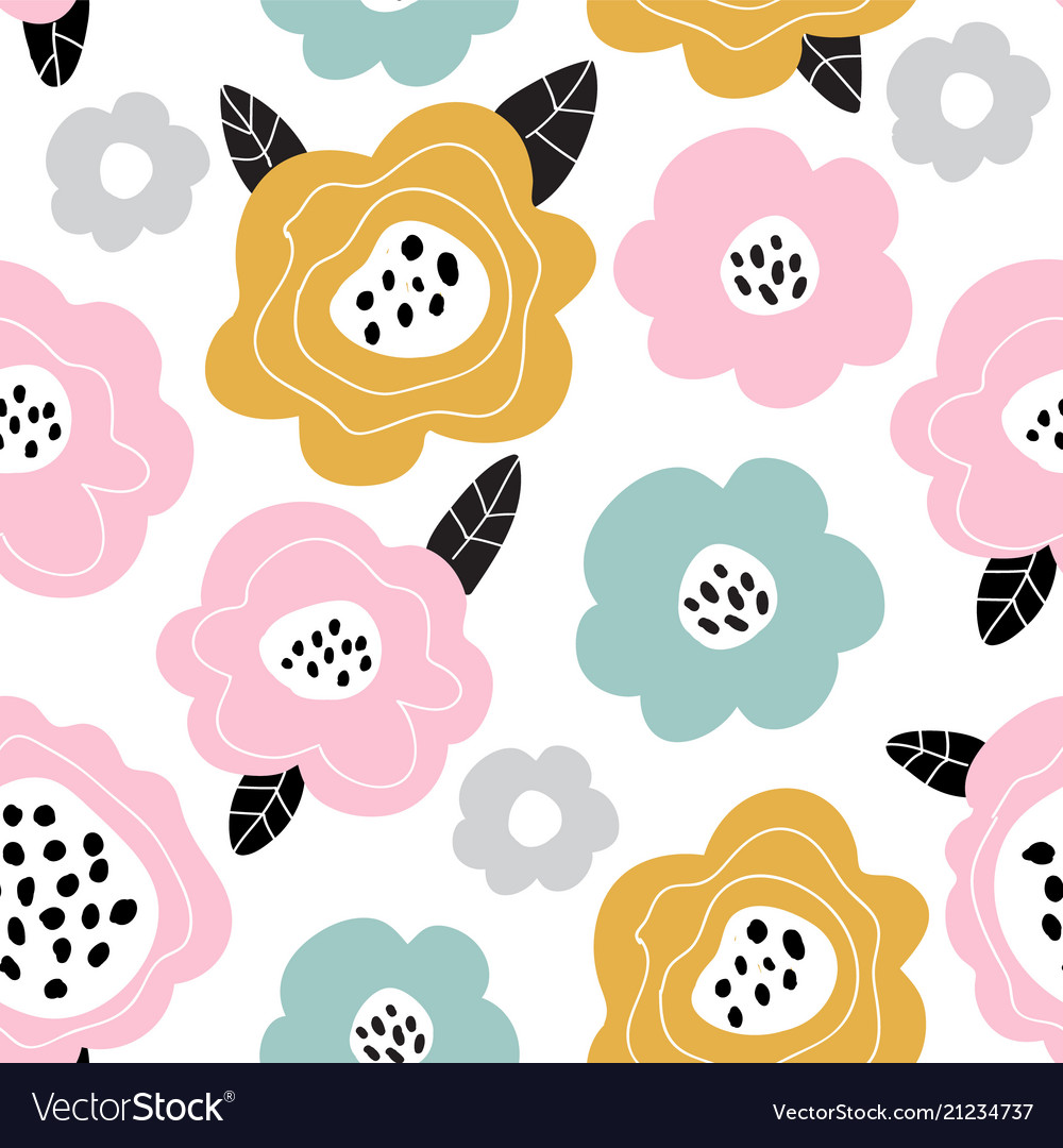 Seamless pattern with flowers scandinavian style