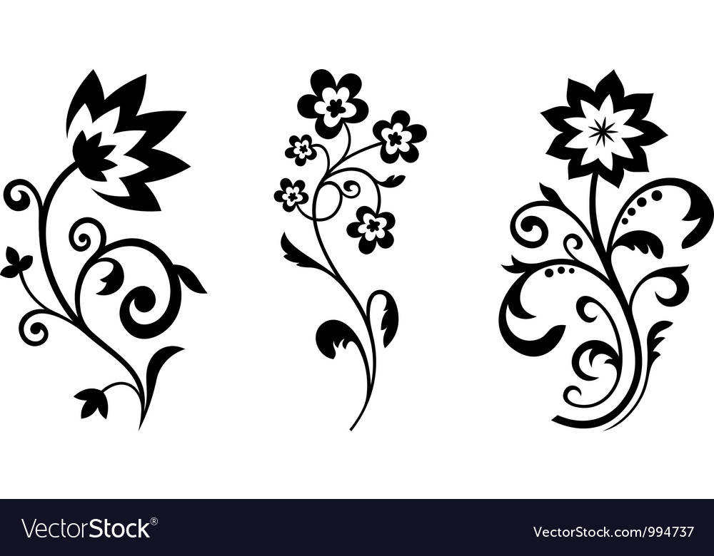 Abstract Flower Icons Stock Vector: Silhouettes Of Abstract Vintage Flowers Royalty Free Vector