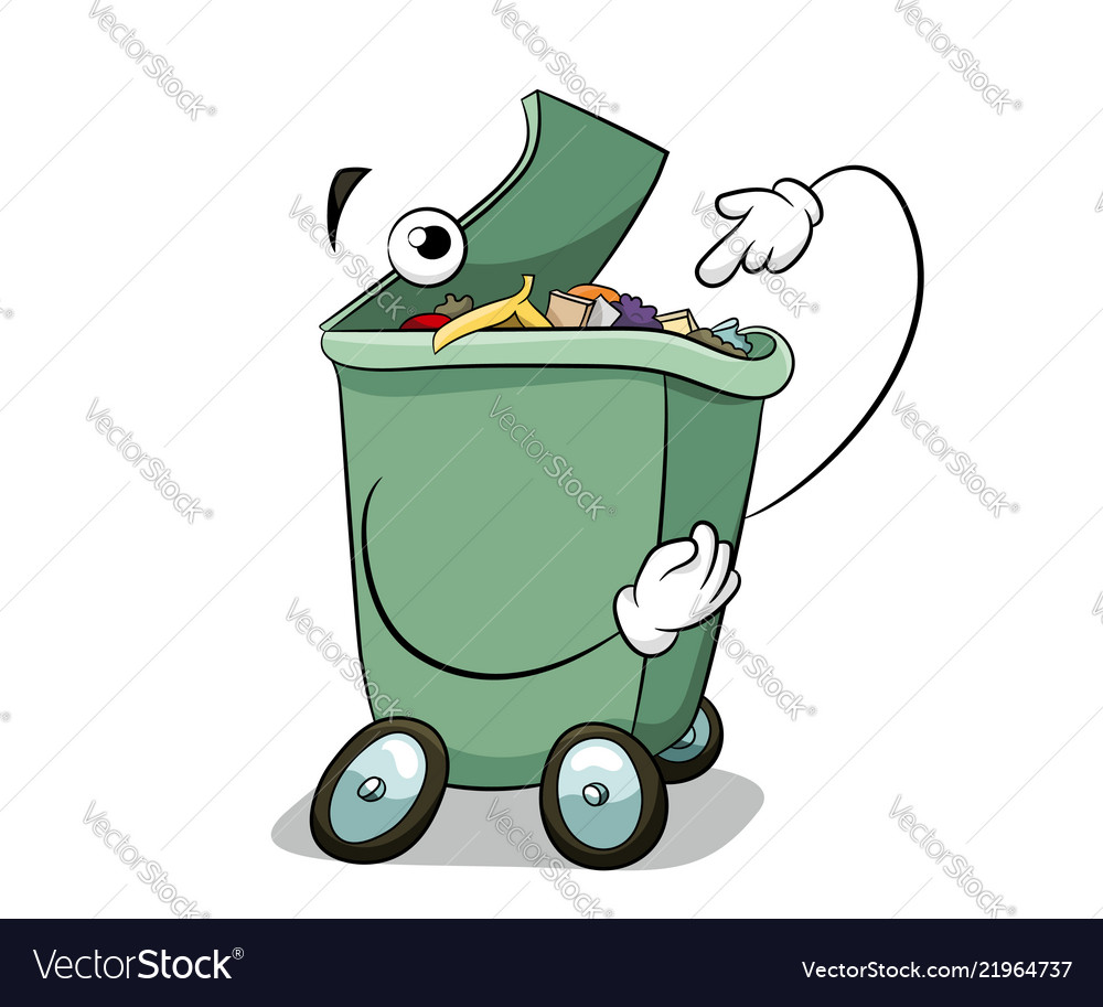 Throw garbage in the trash can fun ecology concept