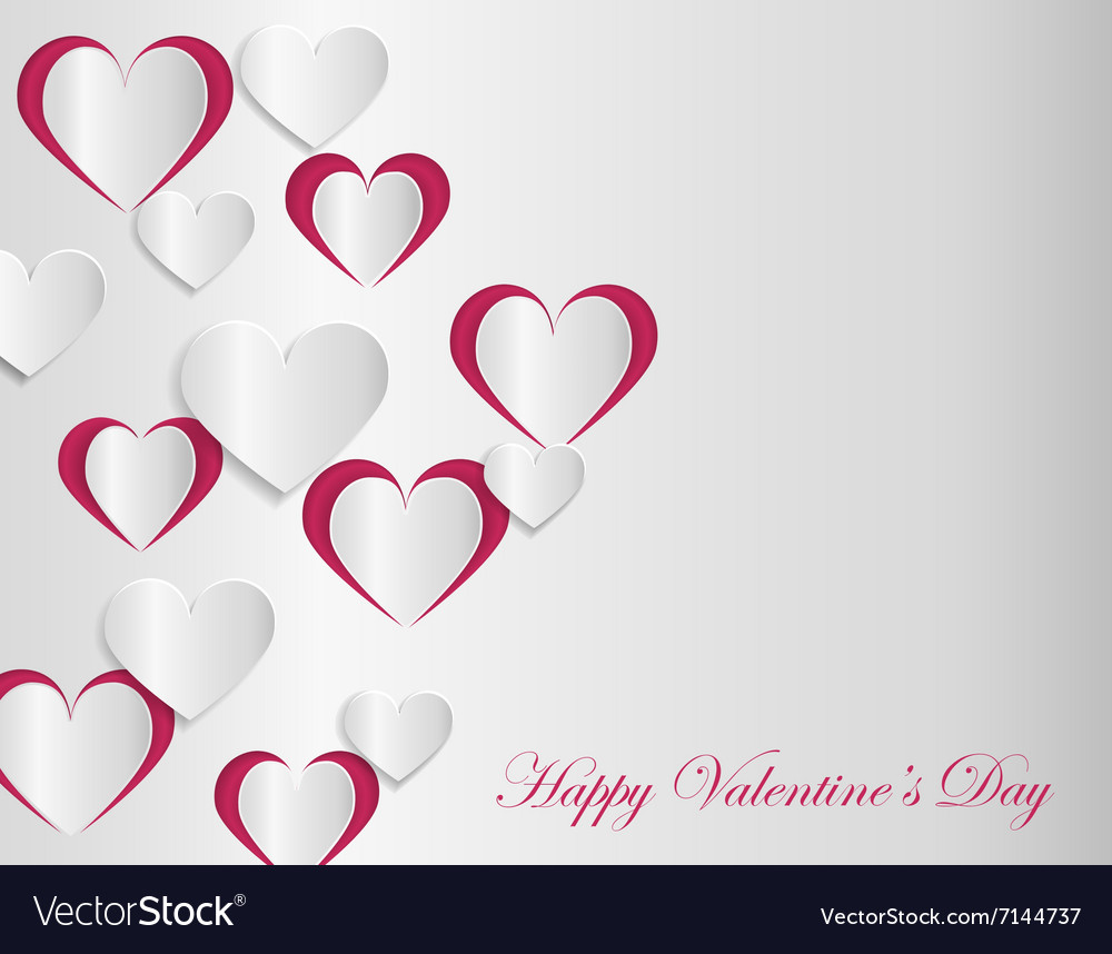 Valentine Card Template With Cut Paper Hearts Vector Image