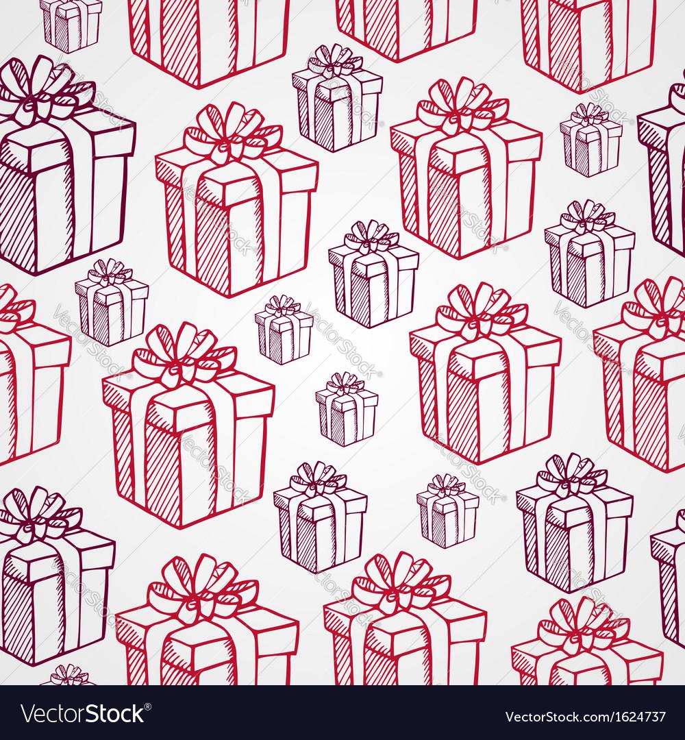 Vintage Christmas presents seamless pattern