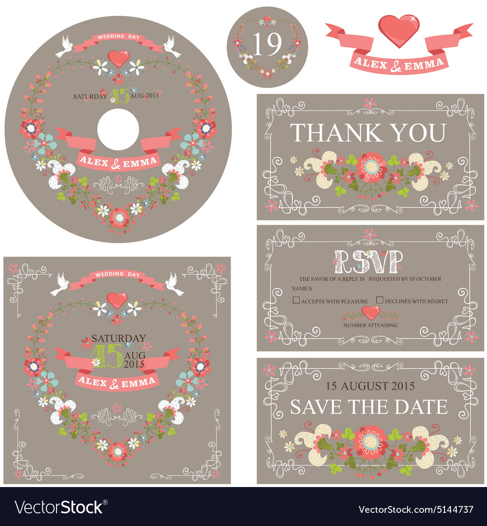 Vintage wedding template set with floral wreath
