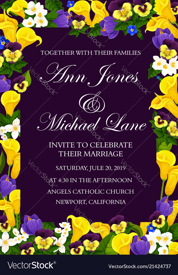 wedding ceremony invitation floral banner design vector image vectorstock