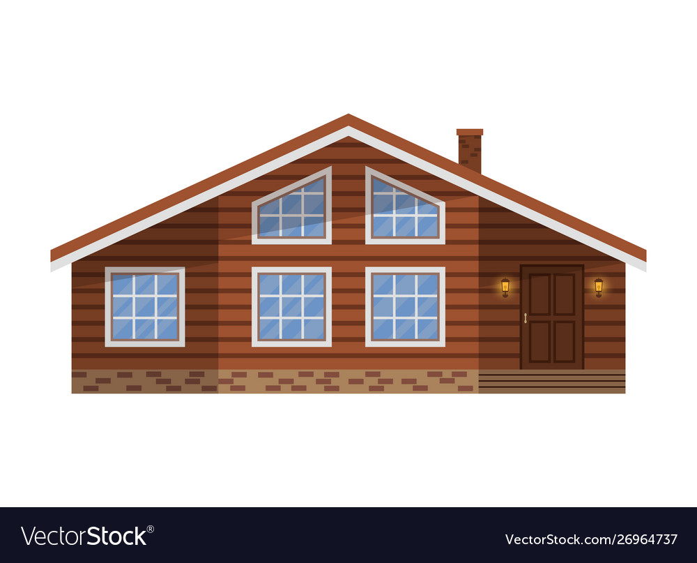Wooden country brown house cottage chalet