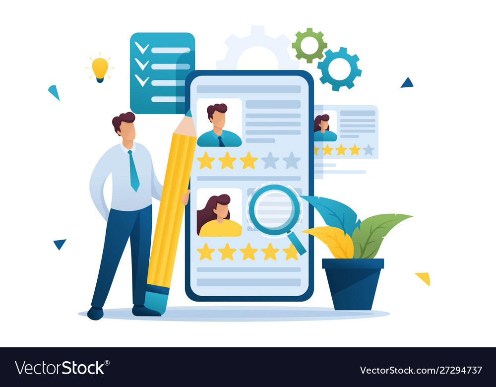 Young Successful Hr Manager Resume Review Vector Image
