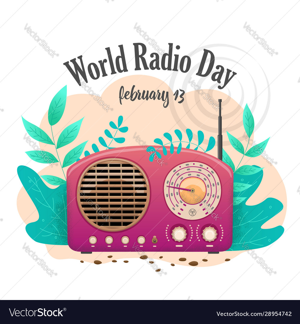 Banner International Flat Day Radio Isolated Pink Vector Image