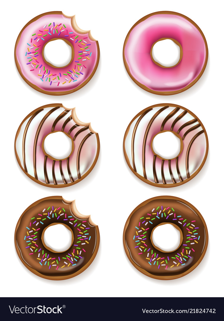 Donuts realistic 3d detailed desserts