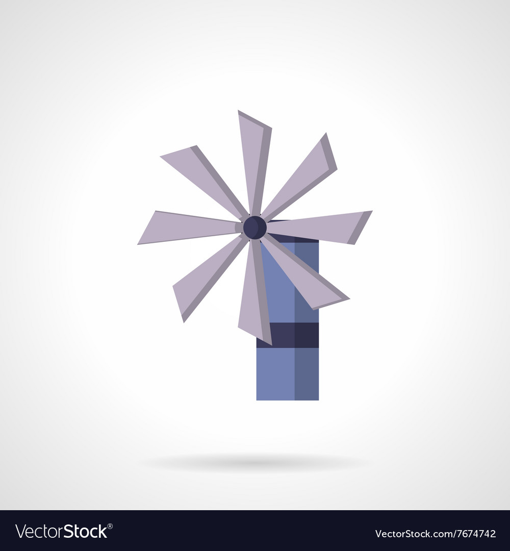 Purple wind turbine flat design icon