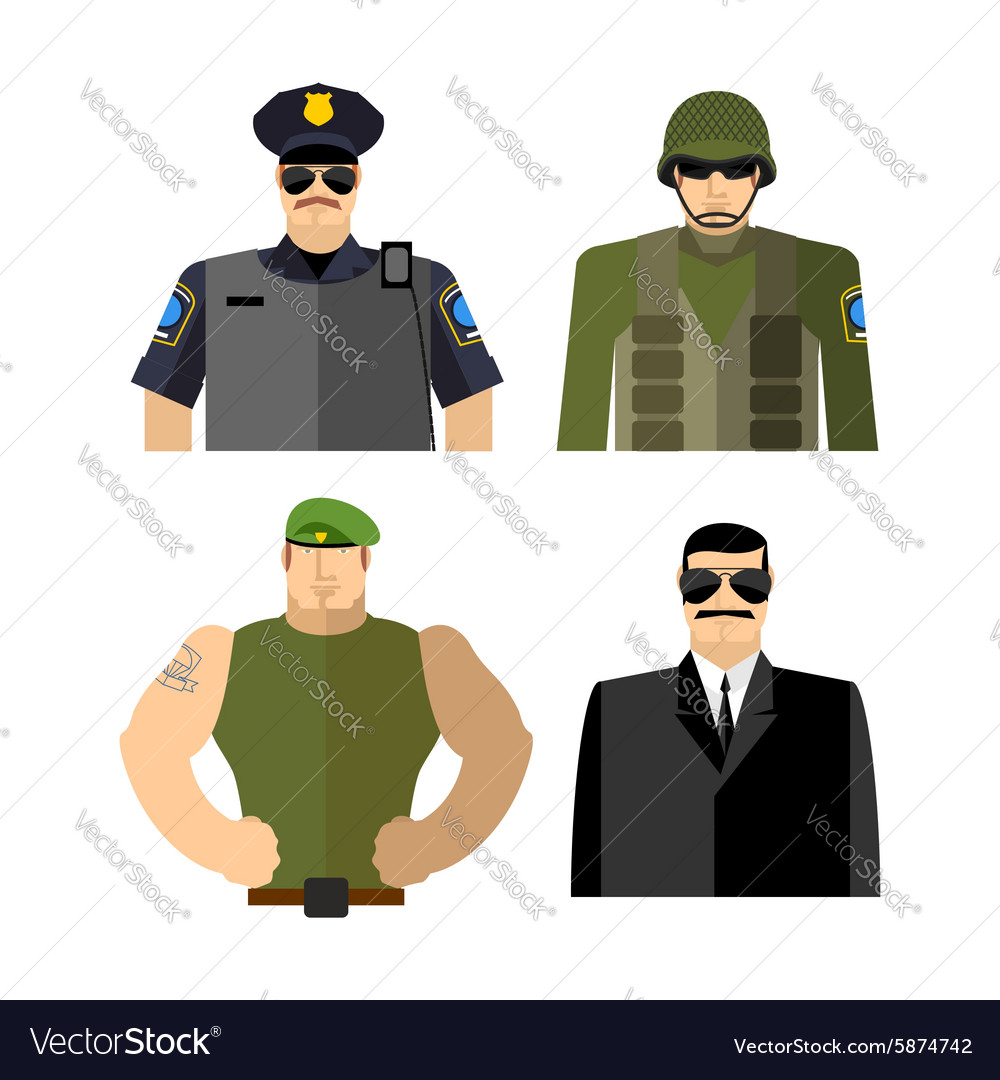 Set of men in work clothes Police and military