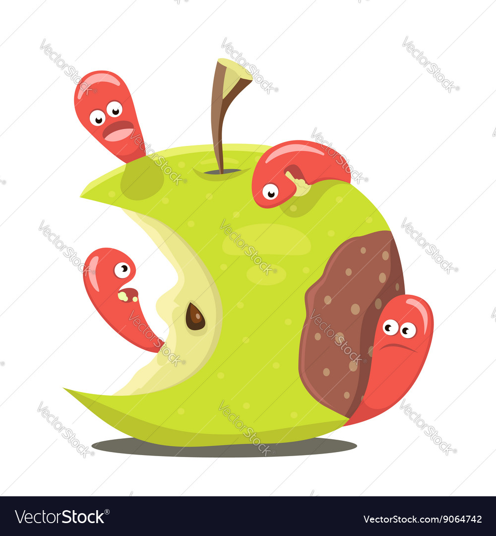 Worm eaten rotten apple vector image