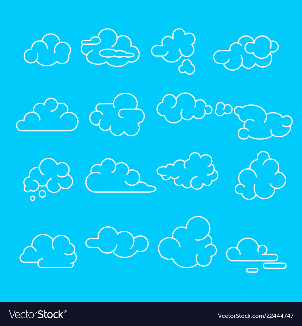Abstract clouds signs black thin line icon set